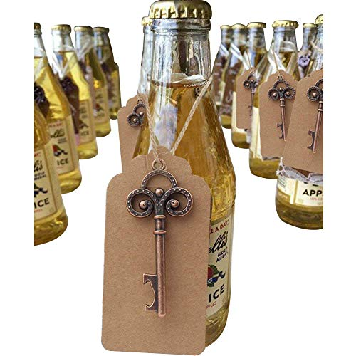Aparty4u 50pcs Key Bottle Opener Wedding Favors for Guests, Vintage Skeleton Key Bottle Opener Keychain with Tag for Rustic Wedding Decorations Bridal Shower Gifts Baby Shower for $<!--$26.99-->