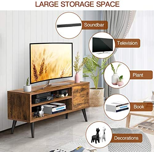 TV Console Table with Storage for TVs as much as 55 Inch, Retro TV Stand for Media Cable Box Gaming Consoles, Mid Century Modern TV Stand & Entertainment Center Wood TV Stand for Living Room Office Bedroom