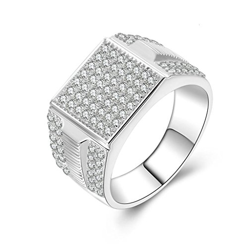 [Epinki 925 Sterling Silver Men'S Ring Wedding Rings Engagement Rings Twill Cubic Zirconia Size 9] (Diy Half Man Half Woman Costume)