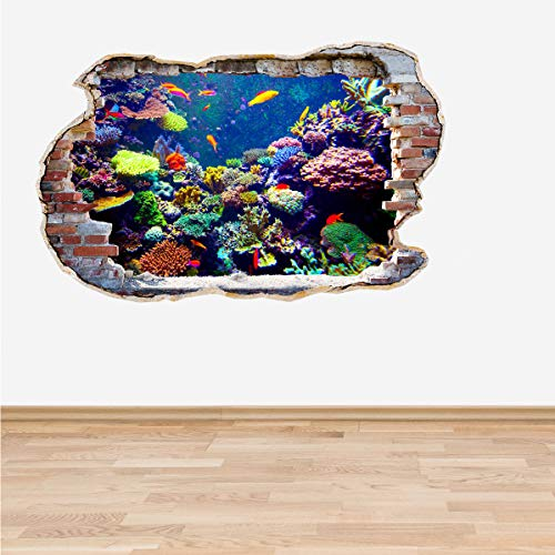 Full Colour Coral Reef Tropical Fish Smashed Wall 3D Effect Under The Sea Aquarium Ocean Bedroom Wall Sticker Decal Kids