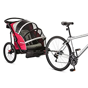 Image of Cargo Trailers Schwinn Joyrider Double Bicycle Trailer, Red