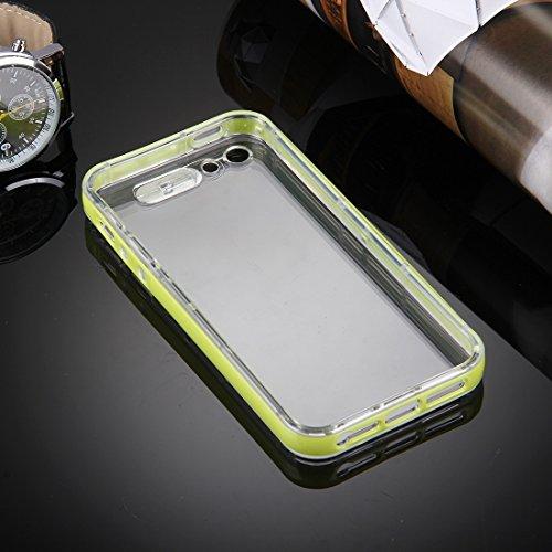 Mobile protection Para el iPhone 5 y 5s y diseño de la diapositiva de la diapositiva de SE Diseño Pluma protectora plástica desprendible Caja TPU transparente de la protección con la llamada entrante  Green