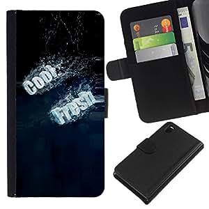All Phone Most Case / Oferta Especial Cáscara Funda de cuero Monedero Cubierta de proteccion Caso / Wallet Case for Sony Xperia Z3 D6603 // Fresh Typography