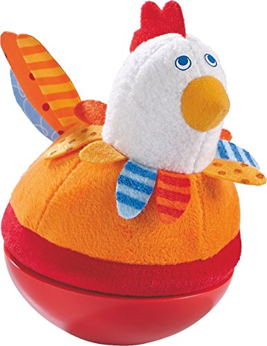 Chime Roly Poly - HABA Roly Poly Chicken Soft Wobbling & Chiming Baby Toy