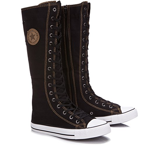 Pictures of rismart Women's Lace Up Tall Punk 2