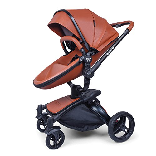 WonderBuggy Baby Stroller Pram, 2 in 1 Travel System Baby Carriage, Luxury All Terrain Stroller with Reversible Reclining Seat and Carrycot (Brown Leatherette) For Sale