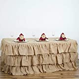 Mikash 3 Tiers Burlap Table Skirt with Ruffles Wedding Linens Party Decorations Sale | Model WDDNGDCRTN - 9648 | 21 ft x 29034