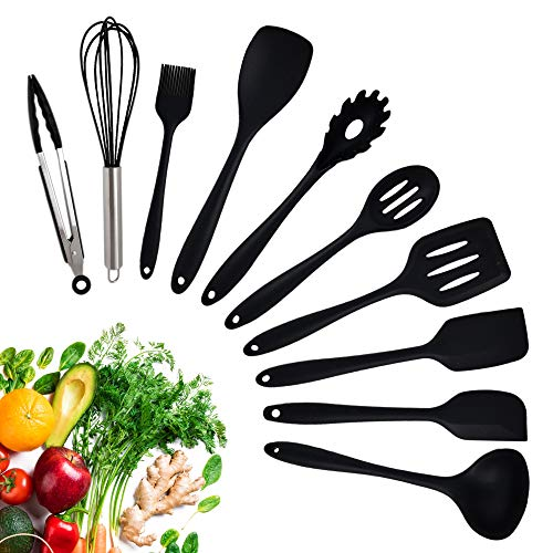 Cooking Utensils - Kitchen Silicone Utensil Set - 10-Piece Silicone Cooking Set - Core Kitchen Accessories - Heat-Resistant Silicone Kitchenware - Lightweight Fully Integrated Set - Dishwasher Safe