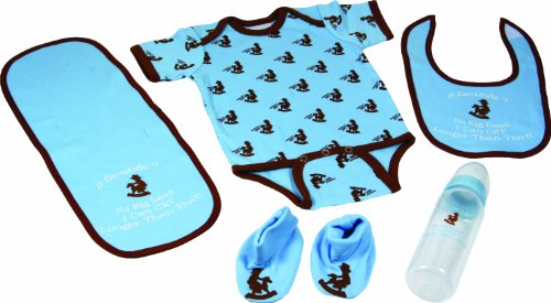 River's Edge 5-Piece Baby Onsey, Bib, Pad, Booties, and Bottle Combo Pack (Western Blue, 0-6 Months)