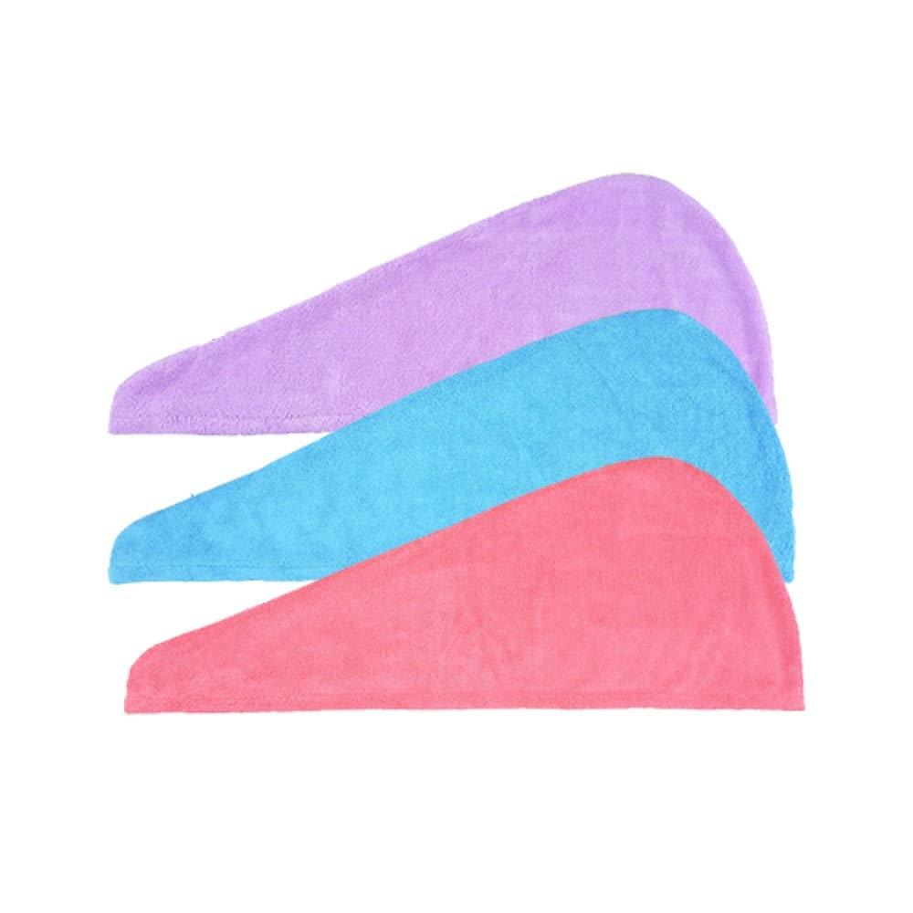 NALATI Serviette Pour Cheveux à Séchage Rapide Bonnets de Bain Wrap Absorbant Serviette de Douche Coton avec Boutons (3 Pieces)