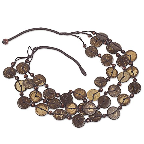 NOVICA Coconut Shell Wood Necklace, Coconut Wave