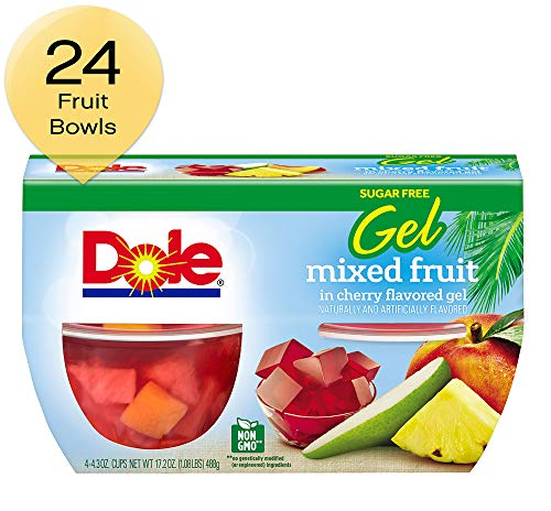 Dole Fruit Bowls Mixed Fruit in Cherry Gel 4.3 Ounce 4 Cups (Pack of 6)