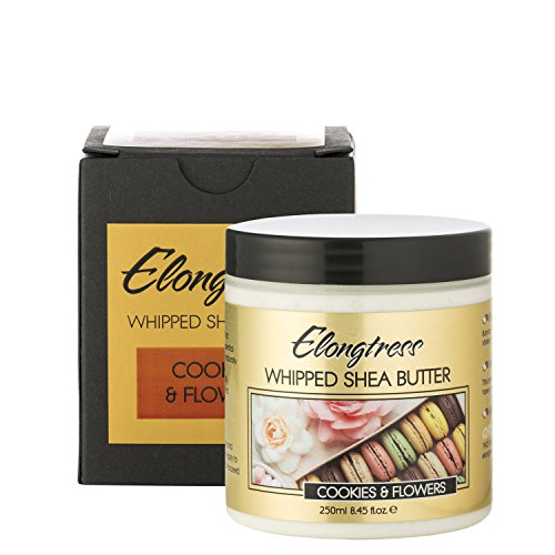 Whipped Shea Butter By Elongtress: All Natural Moisturizing Shea Butter Cream For Flawless Skin And Luscious Hair -Nourishing And Rejuvenating Body And Face Moisturizer - Cookies & Flowers