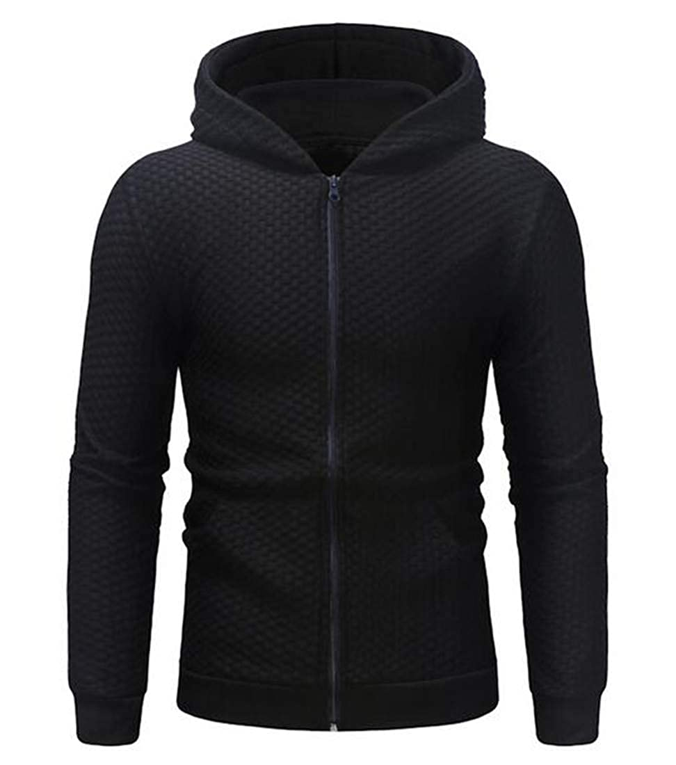 Nanquan Men Casual Long Sleeve Plaid Cardigan Full-Zip Hooded Sweatshirt