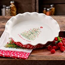 The Pioneer Woman Holiday Cheer 9-Inch Ceramic Ruffle-Top Pie Plate, Dishwasher/Oven Safe by The Pioneer Woman