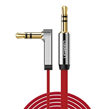 UGREEN Cable 3.5mm Plano Delgado Auxiliar Audio Estéreo con Conector ángulo Recto para iPhone6,