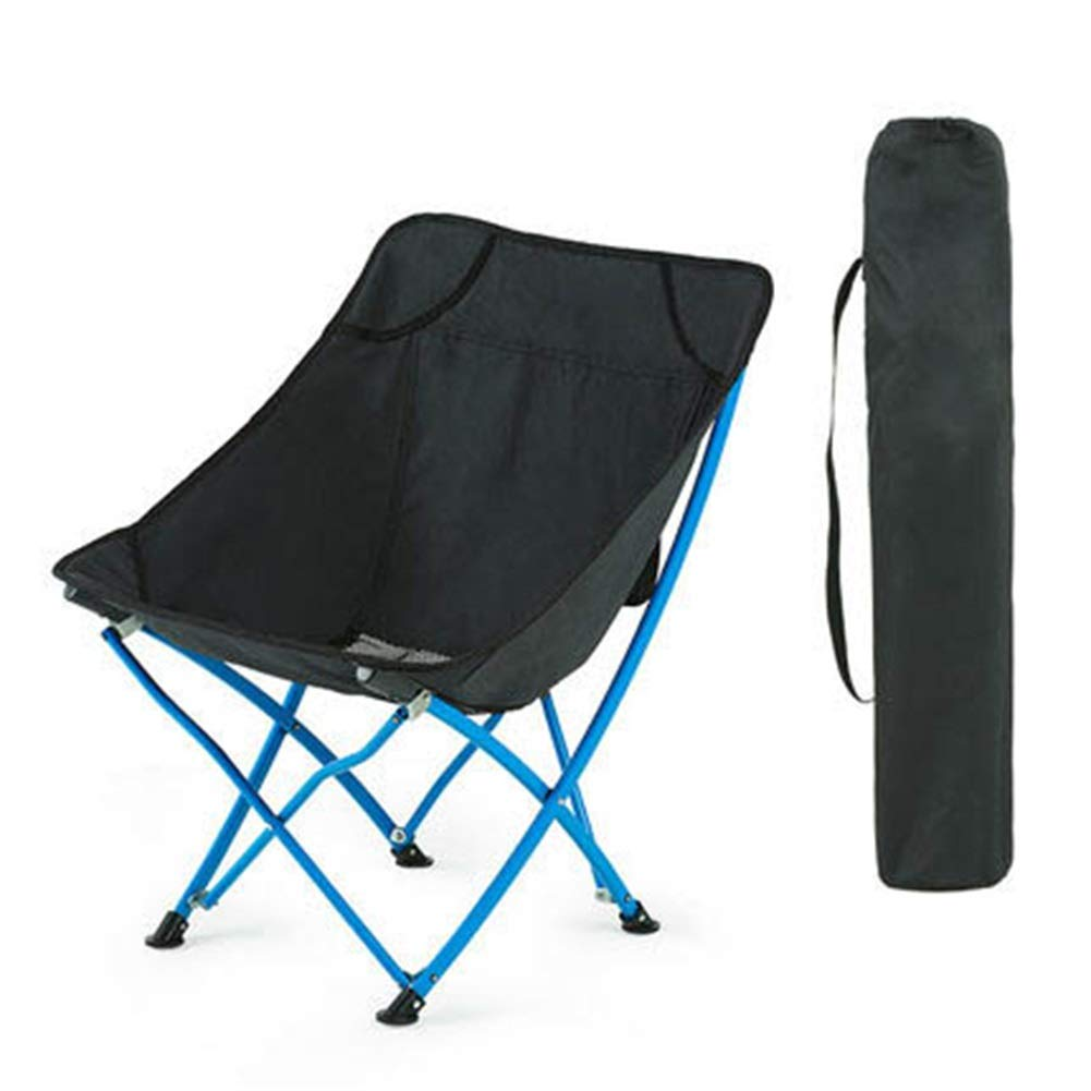 Black ZXH Folding Fishing Canvas Chair Camping Beach Portable Hiking Folding Chair (color   BLACK)