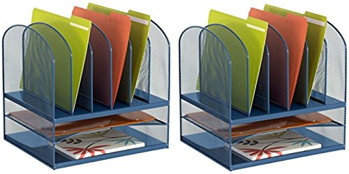 Safco Products 3255BU Onyx Mesh Desktop Organizer with 6 Vertical/ 2 Horizontal Sections, Blue (2 Pack)