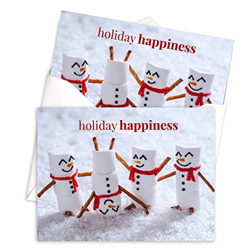 Marshmallow Snowmen Holiday Card Pack - Set of 25 cards - 1 design, versed inside with envelopes Photo #5