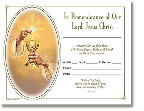Eternal Salvation Sacramental Certificate for First Holy Communion, Bulk Pack of (First Communion Certificates)