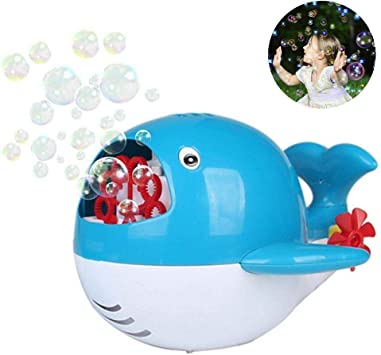 Juguetes Educativos Máquina de burbujas de tiburón for niños Ventilador automático de burbujas portátil con 1 botellas de solución de burbujas de alto rendimiento for bodas de juguete de baño de burbu: