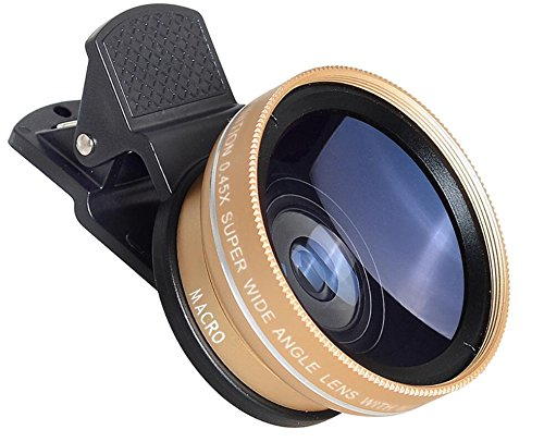 Price comparison product image LQUIDE Phone Lens Kit 0.45X Wide Angle Lens And 12.5X Macro Lens For Iphone SE, 7, 6 / 6S, 6 Plus / 6S Plus Ipad Tablet And Most Android Smartphone (2 In 1), Gold