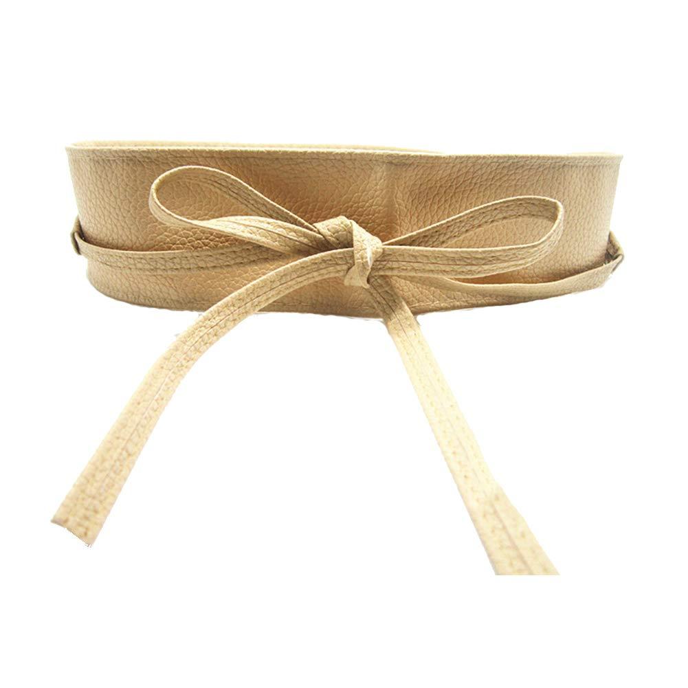 Fablcrew Cintura da Donna in PU Pelle Primavera ed Estate Cintura per Abito Elegante Accessori Size 220cm Beige