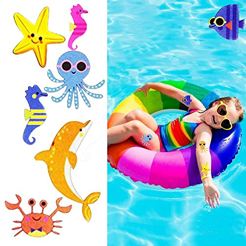 216PCS Under The Sea Party Favors Temporary Tattoos for Kids - Underwater/Ocean Birthday Party Supplies(24 Sheets) -