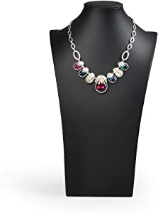 Oirlv Black Leatherette Necklace Pendant Chain Jewelry Bust Display Holder Stand (H15.34)