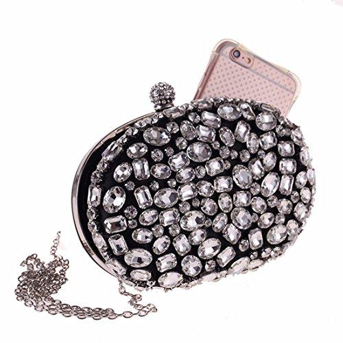 nero Women Diamond colore Clutch Acrylic Bag Nero Igspfbjn Evening Purse B8wYI