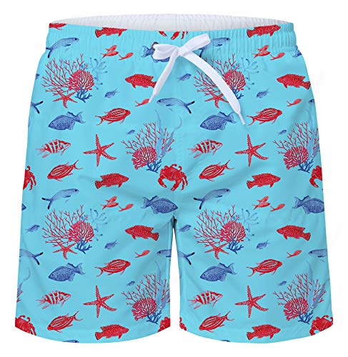 uideazone Men Beach Pool Theme Bathing Shorts Starfish and Seashells Beach Shorts Sport Basketball Shorts Summer Water Sport Swimsuit