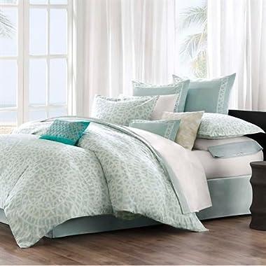 Echo Mykonos 300TC 4-Piece Comforter Set, Sky/White, Queen