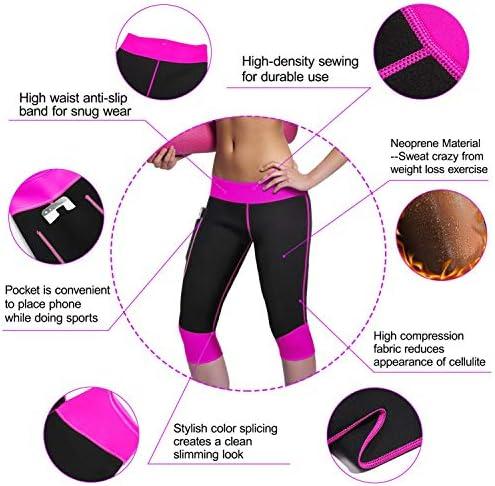 Women Weight Loss Hot Neoprene Sauna Sweat Pants with Side Pocket Workout Thighs Slimming Capris Leggings Body Shaper 5