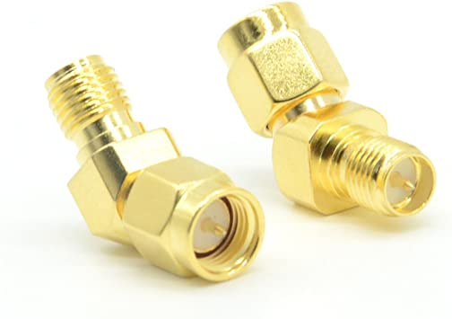 2pcs FPV Coaxial Adapter RP-SMA Male to RP-SMA Female Gold Plated 90-Degree