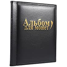 10 Pages Coin Album Coin Collectors 250 Pockets for Coin Storage Coin Collection Book Russian Language (Color : Black)