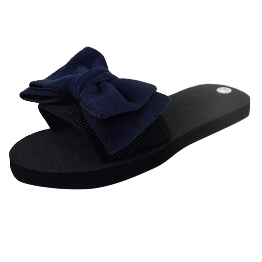 Nevera Sandals Wide Band Summer Slide with Twist Knot Flat Non-Slip Beach Shoes Blue