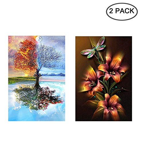[2 Pack] 5D Diamond Painting Kit Full Drill, Annomor DIY Diamond Rhinestone Kits Embroidery Cross Stitch Arts Craft, Home and Office Wall Decor Gift, 11.8'' X 15.7'' (Dragonfly Flower&Earth Wind Fire)