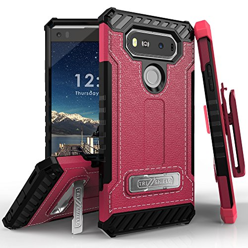 - PimpCase Designed for LG V20 Case, Durable Hybrid Rugged Armor Pink Leather Print Phone Cover with Built in Kickstand Holster
