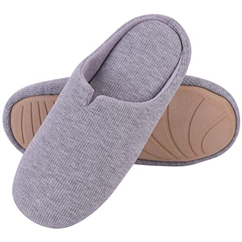 Women's Comfort Cotton Knit Memory Foam Slippers Light Weight Terry Cloth House Shoes w/Anti-Skid Rubber Sole (11-12 M US, Light - Foam Terry