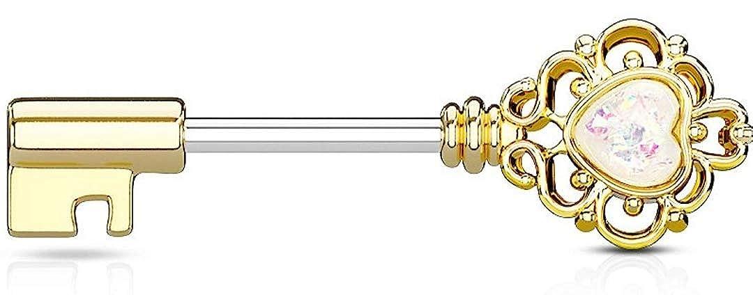 Opal Glitter Heart Centered Filigree Vintage Key 316L Surgical Steel WildKlass Nipple Barbell Rings