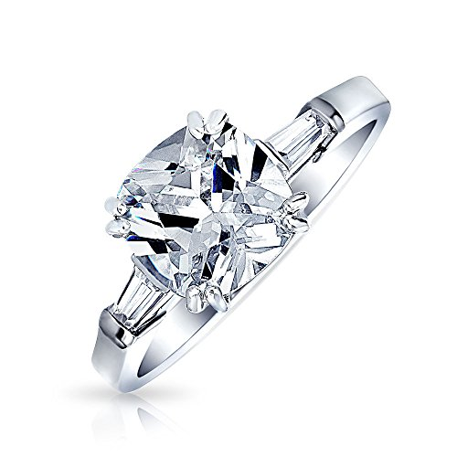 Simple 5CT Square Princess Cut AAA CZ Side Baguette Solitaire Engagement Ring Thin Band 925 Sterling Silver For Women