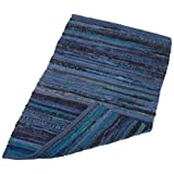DII Home Essentials 20x31.5-inches Cotton Rag Rug for Kitchen, Livingroom, Entry Way, Laundry Room, and Bedroom, Nautical Blue