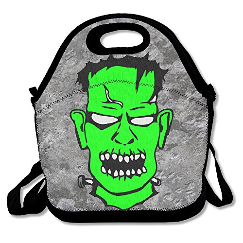 Frankenstein Halloween Vector Image 4 Insulated Lunch Box Food Bag Neoprene Gourmet Handbag Lunchbox Cooler Warm Pouch Tote Bag For School (Halloween Frame Vector)