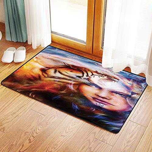 Non-Slip Mat Microfiber Bathroom Rug Shower Mat, Mystic Decor,Mighty Tiger and Lion Head with Woman Face on ORN, Ultra Soft and Water Absorbent Bath Rug,Machine Wash/Dry 16x 24 inches (Tiger Head Rug)