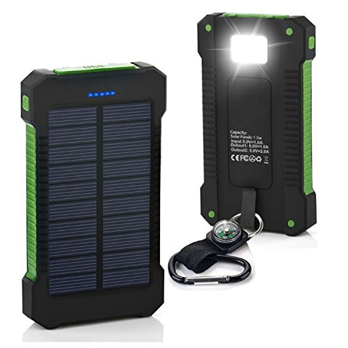US Stock Black & Green 500000mAh Dual USB Portable Solar Battery Charger Solar Power Bank For Phone (Best Solar Power Stocks)