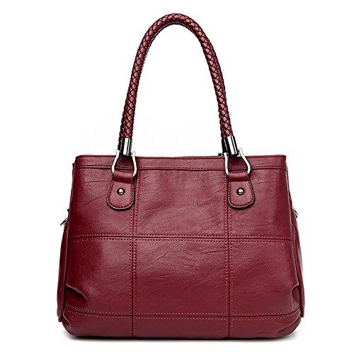 Long Shoulder Coolives Black Handbag Strap Red Handle Braided Wine Women qZZtRBT