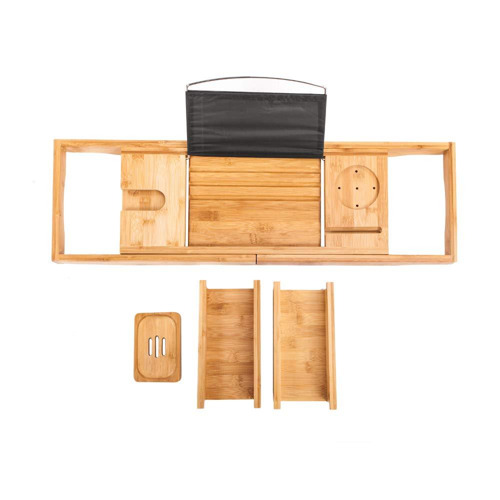 SSLine Bathtub Tray Bamboo Wood Bathtub Rack Shelf Bathroom Shower Organizer for Tub Bathtub Caddy Tray with Extendable Sides Soap Dish /& Wine Glass Holder Book//Tablet Holder Cellphone Stand