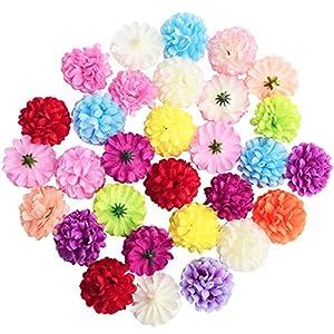 "Artificial Sunflower Heads, 24 Pcs Silk Faux Sunflowers Yellow Gerber Daisies for DIY Wedding Fall Autumn Party Cupcake Hair Clip Wreath Topper Decoration, 5.12"" 2"
