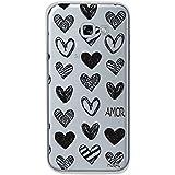 Capa Personalizada Corações Amor, Husky para Galaxy A5 (2017), Capa Protetora para Celular, Preto