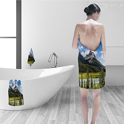 l set Americana Landscape Decor Canadian Cliffs High Tops and Ranges in Spring Day Panorama Image Fabric Bathroom Decor Green Blue (Canadian Spring Water)